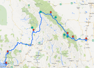 Route Calgary to Vancouver
