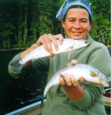 Josette Prinsen with fresh caught lake trout
