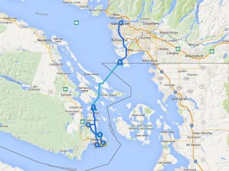 travel map Vancouver to Victoria