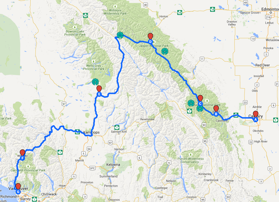 route Vancouver to Calgary