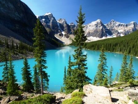 Moraine Lake, in the Valley of the Ten Peaks, Banff National Park, Alberta
