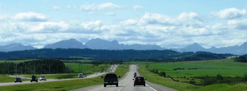 Approaching the Rocky Mountains en route from Calgary to Banff