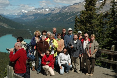 With a tour group in the Rockies